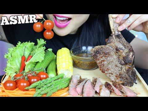 ASMR TOMAHAWK STEAK + FRESH VEGGIES + THAI DIPPING SAUCE (EATING SOUNDS) NO TALKING | SAS-ASMR