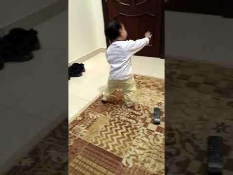 Cute Baby PIHU start learning how to walk and making balance