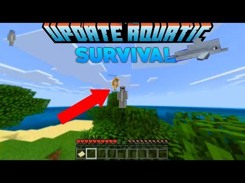 Survival Let's Play Ep. 1 -Minecraft pe Update aquatic! with my little brother