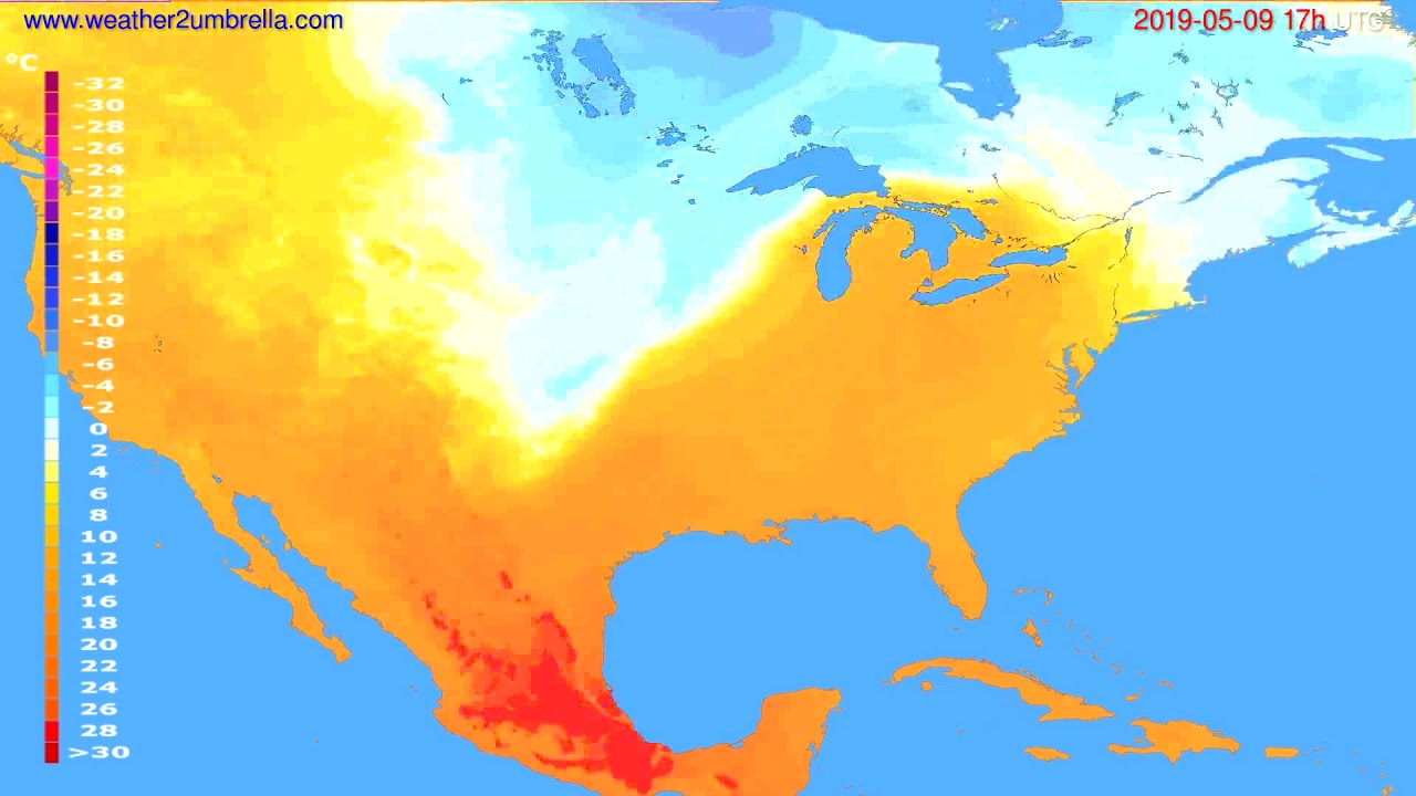 Temperature forecast USA & Canada // modelrun: 00h UTC 2019-05-08