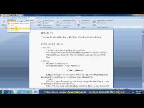 Cách tạo mục lục tự động trong Word 2007