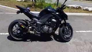6. Black 2015 Kawasaki Z1000 full Akrapovic Exhaust