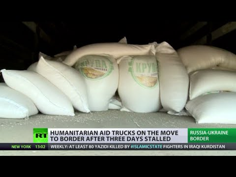 RT - The first batch of Russian trucks carrying humanitarian aid has reached the border with Ukraine. It spent three days waiting, as Kiev expressed doubt about the humanitarian nature of the cargo....