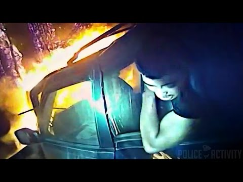 Cop Saves Man Trapped In Burning Car With Bodycam