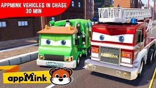 Video appMink car animation – Police car, crane truck, firetruck and Monster truck chase MP3, 3GP, MP4, WEBM, AVI, FLV November 2018