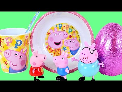 Peppa Pig Mealtime Chocolate Surprise Egg Toys Play Doh Food Peppa's Kid Kitchen Juguetes de Cocina