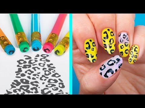 Decoracion de uñas - 11 Trucos Extraños Para Uñas / ¡Manicura Usando Solo Útiles Escolares!