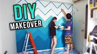 DIY ROOM MAKEOVER - Mint Green Chevron Ombre Wall Painting | Joseph Germani