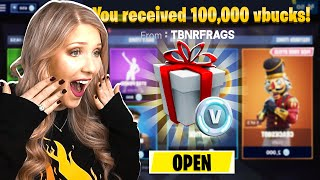 I WON 100,000 *FREE* VBUCKS FROM PRESTONPLAYZ! (Fortnite Challenge)