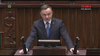 Przemówienie prezydenta Andrzeja Dudy wygłoszone podczas pierwszego posiedzenia Sejmu IX kadencji