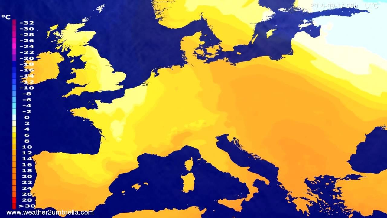 Temperature forecast Europe 2016-09-14