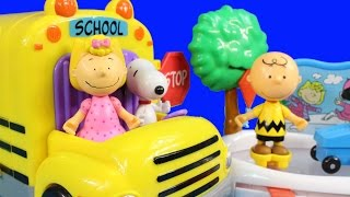 Peanuts Go To School In Charlie Brown's School Bus And Ice Skating Rink Snoopy Sally