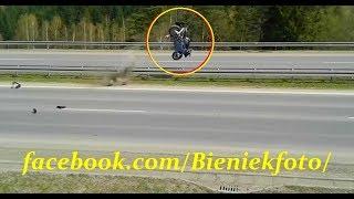 Masakryczny wypadek motocyklisty na prostej drodze w Chabówce! Motocykl wyj**bało w powietrze!