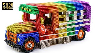 How To Make School Bus From Magnetic Balls ( Satisfying and Relax )   Magnet World 4K