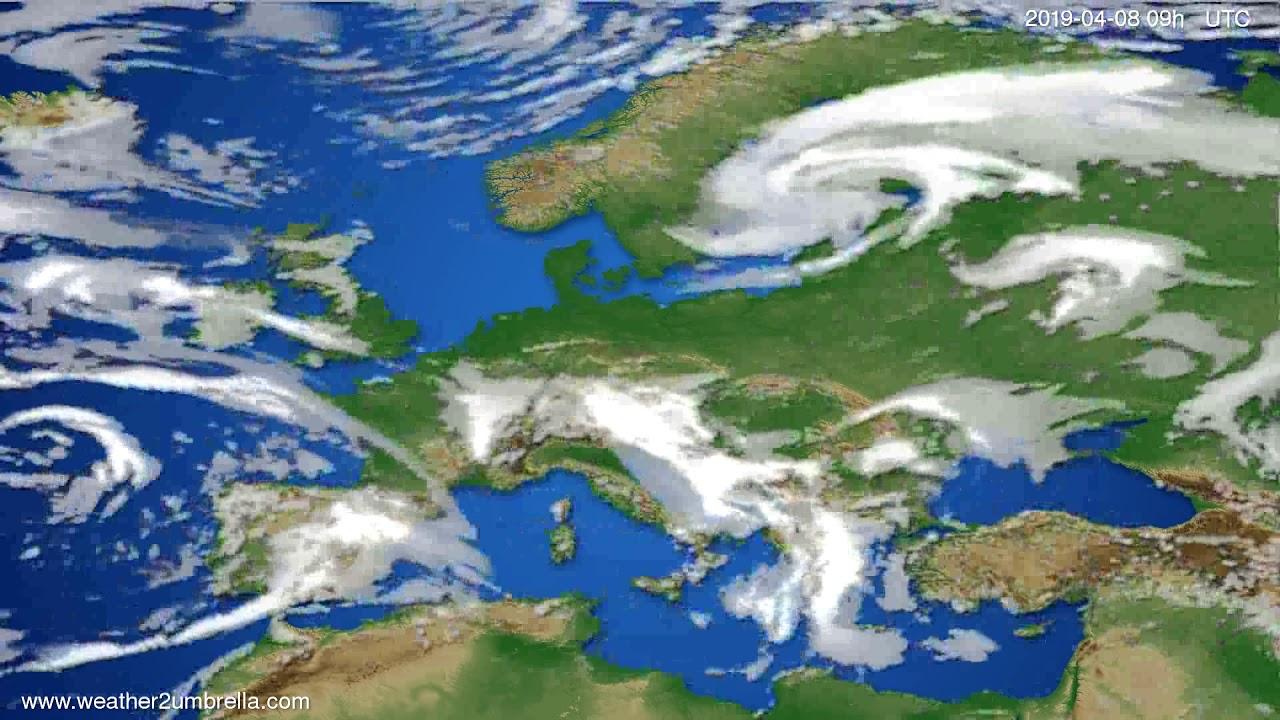 Cloud forecast Europe // modelrun: 00h UTC 2019-04-07