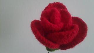 Red Rose Flower Crochet.........Merajut Bunga Mawar Merah