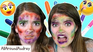 Hey guys! In today's video my sister JustJordan33 and I will be spraying markers onto our faces and giving each other makeovers! This challenge was super funny and by the end we looked like clowns. Enjoy!__Subscribe for videos every Thursday!☆http://www.youtube.com/channel/UCS0kA-D1M87dDfkWRl_DLJA?sub_confirmation=1Comment down below whose face was better!♡Like this video if you enjoyed!Here are some more videos I think you might like:Operation Slime Challenge: https://www.youtube.com/watch?v=FycQVuqxORwCoke and Mentos Challenge: https://www.youtube.com/watch?v=ZZD0C2Fu-vsLip Retractor Challenge: https://www.youtube.com/watch?v=IXKf89bTx_EFast Food Fondue Challenge: https://www.youtube.com/watch?v=oUgfiExrN4URainbow Ice Bath Challenge: https://www.youtube.com/watch?v=sM8tujZbsLUNever Have I Ever: https://www.youtube.com/watch?v=n340lu1BIpYTwisted Twister:  https://www.youtube.com/watch?v=XzR_twNyxSEHungry Hungry Hippos Game Twist: https://www.youtube.com/watch?v=Z0kuKpzfh0YFamily Lip Retractor Challenge: https://www.youtube.com/watch?v=y_ridJVmS8EYou can send fanmail! AllAroundAudreyP.O. Box 6792N. Logan, Utah 84341__Follow Me On:Instagram- https://instagram.com/allaroundaudrey/Twitter- https://twitter.com/AllAroundAudreyFacebook- https://www.facebook.com/AllAroundAudrey?ref=profilePinterest- https://www.pinterest.com/allaroundaudrey/Musical.ly- AllAroundAudreyYouNow: AllAroundAudrey__♡ My Sister's Channel: https://www.youtube.com/channel/UCHOMvu3axPhTG5zLqrHynig♡ My Brothers' Channel: https://www.youtube.com/channel/UCCHmMn-aFceiyb81Z-fu-zw♡ Our Family Channel: https://www.youtube.com/channel/UCbZgDzTkBQMkPWYBFESJ3sQ♡ Check Out My Previous Video: https://www.youtube.com/watch?v=oB8ElCFMvhI♡ For Business Inquiries: AllAroundAudrey99@gmail.com__Music Credits:Boogie Woogie Bed by Audionautix is licensed under a Creative Commons Attribution license (https://creativecommons.org/licenses/by/4.0/)Artist: http://audionautix.com/Carnivale Intrigue by Kevin MacLeod is licensed under a Creative Commons Attribution license (https://creativecommons.org/licenses/by/4.0/)Source: http://incompetech.com/music/royalty-free/index.html?isrc=USUAN1500028Artist: http://incompetech.com/Doh De Oh by Kevin MacLeod is licensed under a Creative Commons Attribution license (https://creativecommons.org/licenses/by/4.0/)Source: http://incompetech.com/music/royalty-free/index.html?isrc=USUAN1100255Artist: http://incompetech.com/Fluffing a Duck by Kevin MacLeod is licensed under a Creative Commons Attribution license (https://creativecommons.org/licenses/by/4.0/)Source: http://incompetech.com/music/royalty-free/index.html?isrc=USUAN1100768Artist: http://incompetech.com/Latin Industries by Kevin MacLeod is licensed under a Creative Commons Attribution license (https://creativecommons.org/licenses/by/4.0/)Source: http://incompetech.com/music/royalty-free/index.html?isrc=USUAN1200015Artist: http://incompetech.com/__Thanks for Watching!XOXO,Audrey