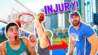 GET YOUR WASSABI MERCH NOW!http://www.AlexWassabi.comShould of warmed up a little bit more before DUNKING! Can't believe you went from DUNKING to CRUTCHES in one hour! LOLWassabi's MUST WATCH videos!: http://bit.ly/29yPBEHWatch every Wassabi CHALLENGE video!: http://bit.ly/29wKUeBNew Wassabi episode EVERY DAY!JOIN THE JOURNEY!Twitter: http://bit.ly/29A6ZIZInstagram: http://bit.ly/29NFnWrSecond Channel: http://bit.ly/2cU60JvFacebook: http://bit.ly/29LVthySnapchat: @RealAlexWassabiDon't forget to remember!If you're not smiling,YOU'RE DOING IT WRONG!! :)mKay bYe!