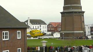 Borkum Germany  city pictures gallery : ADAC Trauma helikopter near the lighthouse at Borkum, Germany