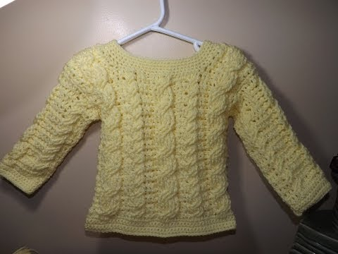 Crochet Abrigo o Suéter  Para Bebe' De Trenzas a Crochet Parte 1 De 2