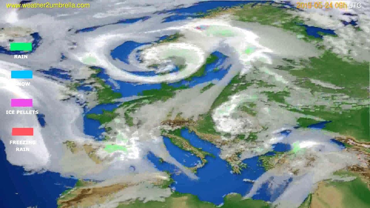 Precipitation forecast Europe // modelrun: 12h UTC 2019-05-22