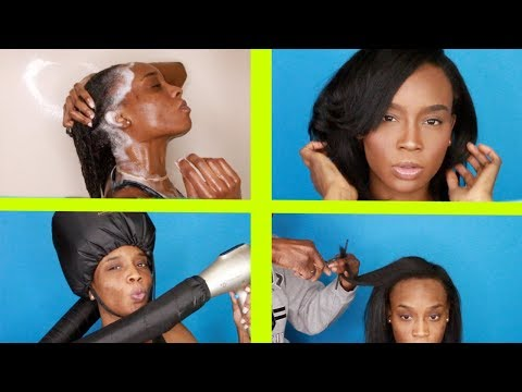 Hair cutting - Wash Day Routine on Transitioning Hair + Straightening, Cutting & Styling