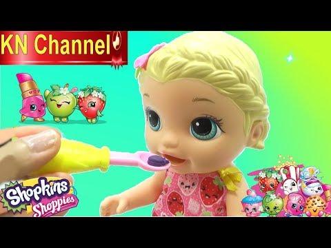 BÉ NA CHĂM SÓC BÚP BÊ BABY ALIVE DOLL Đồ chơi shopkins mới của KN Channel - Thời lượng: 12:40.
