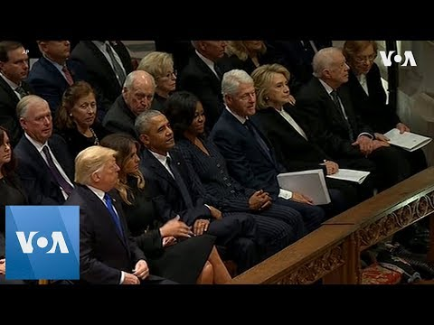 Trump, Obama, Clinton, Carter come together for Bush funeral