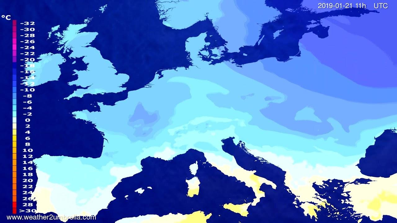 Temperature forecast Europe 2019-01-17