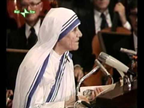 memorabile discorso di madre teresa alla consegna del nobel per la pace