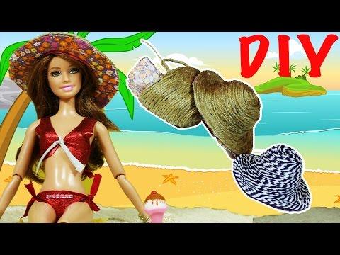 """Barbie Oyuncak Bebekleri için Plaj Seti Nasıl Yapılır   Yaza Hazırlık   EvcilikTV """"Kendin Yap"""""""