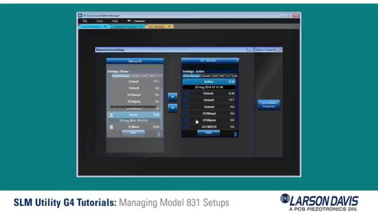 Managing Model 831 Setups