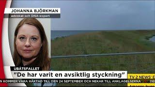 Nyheterna i TV4 från 2017-08-23: Advokaten och DNA-experten Johanna Björkman om utvecklingen i fallet Kim Wall. TV4 News...