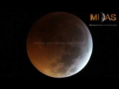 Jose M. Madiedo博士於今年1月21日月全食期間觀測到的月閃光影片
