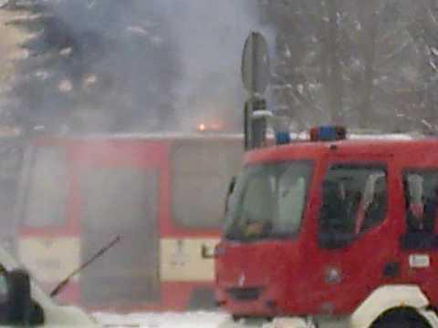 28.01.2010 - Pożar tramwaju - Oliwa petla tramwajowa