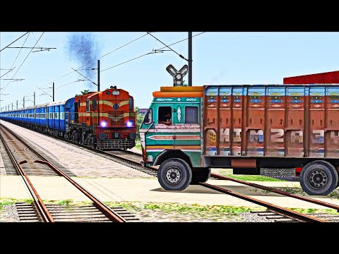 CRAZY TRUCK STRUCK THE TRAFFIC AT UNMANNED LEVEL CROSSING IN INDIAN TRAIN SIMULATOR