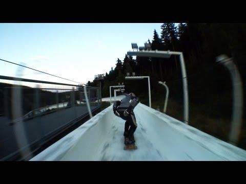 Skating down a Bobsled track