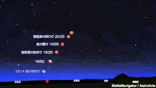 2014.10/08の皆既月食のシミュレーション(ステラナビゲーターにて)Ver.2