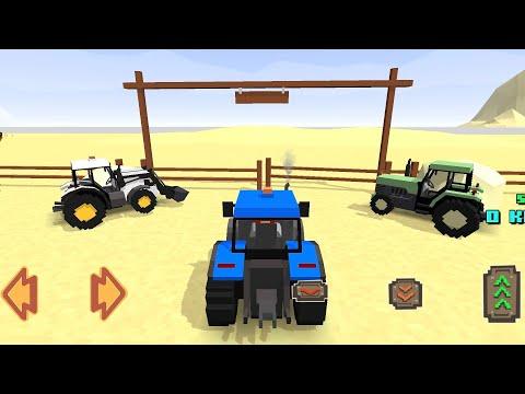 Blocky Farm & Racing Simulator 2018 - I borrowed 2 tractors from the neighbor to finish harvesting