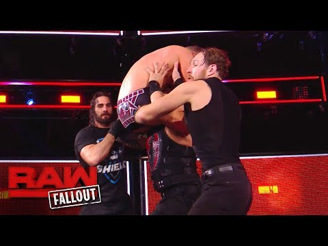 The Shield drives The Miz through the announce table after Raw: Raw Fallout, Nov. 20, 2017