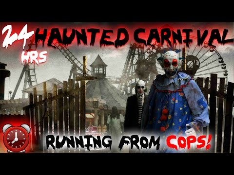 (COPS) 24 HOUR OVERNIGHT CHALLENGE AT HAUNTED CARNIVAL // RUNNING FROM COPS! OVERNIGHT IN A CARNIVAL (видео)