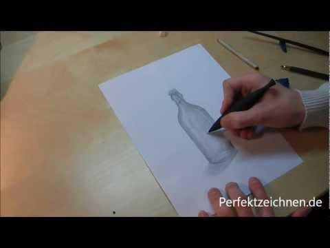 Vorsicht GLAS ! Perfekt Zeichnen Lernen: Flasche Zeichnen [Lektion 11]