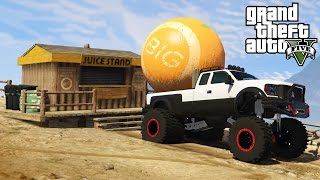 7. HAULING THE GIANT ORANGE BALL! 4x4 Towing Challenge & Off-Roading! (GTA 5 PC Mods)