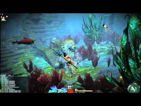 gw2 underwater - The beautiful Sakura and I exploring various underwater sections in the first Guild Wars 2 beta weekend. Graphics set to a mixture of low/none with textures ...