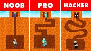 Minecraft NOOB vs. PRO vs. HACKER : LAVA MAZE TO FAMILY CHALLENGE in Minecraft!