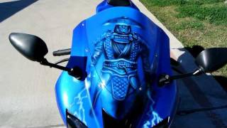 8. 2008 Kawasaki ZX6R 600 Ninja with Raiden Mortal Kombat Air Brush Art!