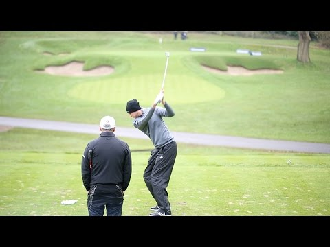 England cricketer Stuart Broad has golf lesson with Ryder Cup captain Paul McGinley