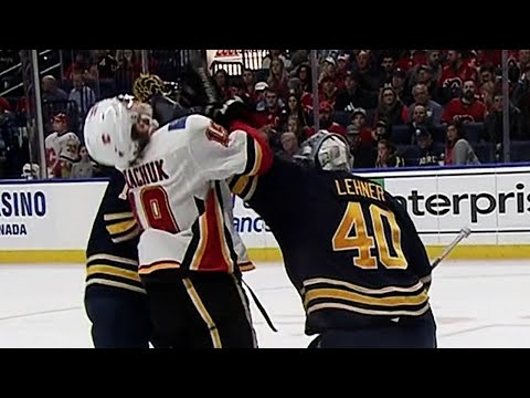 Video: Lehner drops Tkachuk with glove shot after whistle