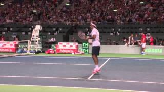 Roger Federer was fooling around, demonstrating his volley skills and almost got shot in practice.