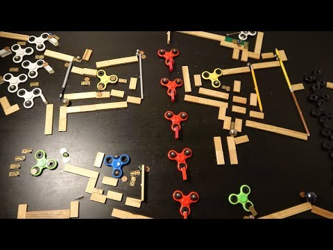 A Rube Goldberg machine built out of fidget spinners